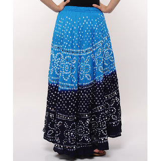 Shoppingtara Bandhej Hand Work Stylish Cotton Skirt (Blue)
