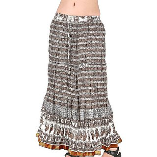 Shoppingtara  Designer Brown Cotton Long Skirt -143