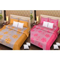Pack Of 2 Cotton Double Bed Sheet & 4 Pillow Covers - Rust Patch & Pink Patch