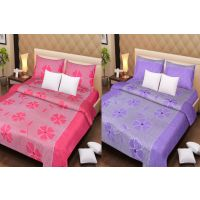 Pack Of 2 Cotton Double Bed Sheet & 4 Pillow Covers - Pink Patch & Purple Patch
