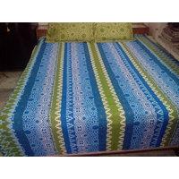 Rajsthani Print Bed Sheet With Green And Blue Shade