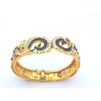 Kada (bangle) In Peacock Design With Meenakari Work- Adjustable To Fit All