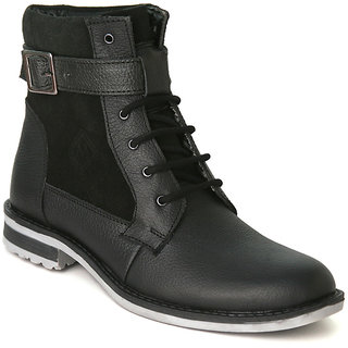 Marrtin Stylish Black Leather Ankle Boots