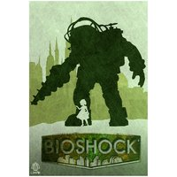 Big Daddy And Little Sister From Bioshock Video Game Poster 12x18 (A3 Size)