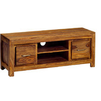 SOLID WOOD TWO DRAWER PLASMA T.V UNIT