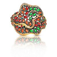 Just Women Traditional Kada In Floral Design With Multi Color Semi Precious Stones And Crystals- (JW016730)
