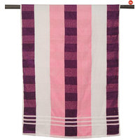 GHS Stripes Bath Towel Pink And White