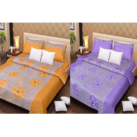 Pack Of 2 Cotton Double Bed Sheet & 4 Pillow Covers -  Purple Patch & Rust Patch