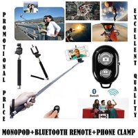 Universal Mobile Selfie Extendable Monopod And Wireless Bluetooth Remote Shutter