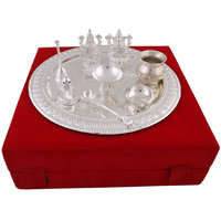 Hand-e-Crafts Silver Plated Brass Pooja Thali With Laxmi & Ganesh Idols Set Of 9 Pcs