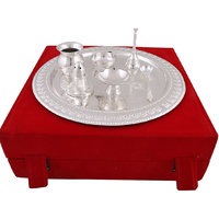 Hand-e-Crafts Silver Plated Brass Pooja Thali Set Of 7 Pcs