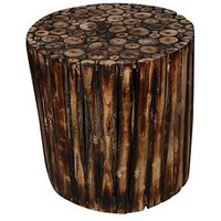 Wooden Round Shape Stool/Chair/Table Made From Natural Wood Blocks 12 Inch