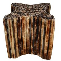 Wooden Star Shape Stool/Chair/Table Made From Natural Wood Blocks 12 Inch