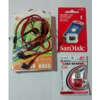 Sandisk 4GB Memory Card + Card Reader With Free Universal Handsfree