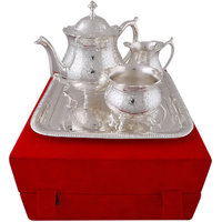 Hand-e-Crafts Silver Plated Brass Tea Set With Tray