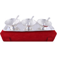 Hand-e-Crafts Silver Plated 3 Brass Bowls & Spoon Set With Tray