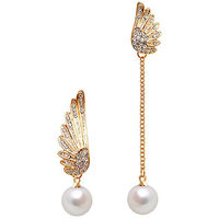 Young  & Forever Angel Wings Pearl Drop Earrings For Women By Crazeemania
