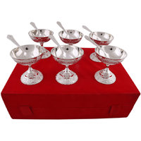 Hand-e-Crafts Silver Plated 6 Brass Icecream Bowls And Spoon Set
