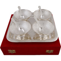 Hand-e-Crafts Silver Plated 4 Brass Bowls & Spoon Set With Tray