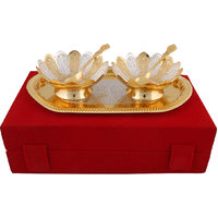 Hand-e-Crafts Silver And Golden Plated 2 Brass Floral Shapded Bowls & Spoon Set With Tray