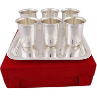 Hand-e-Crafts Silver Plated 6 Brass Glasses With Tray