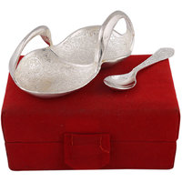 Hand-e-Crafts Silver Plated Brass Swan Shaped Mouth Freshner Bowl With Spoon