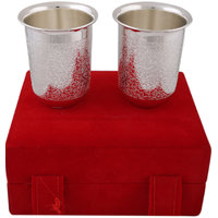 Hand-e-Crafts Silver Plated Brass Glass Set Of 2 Pcs