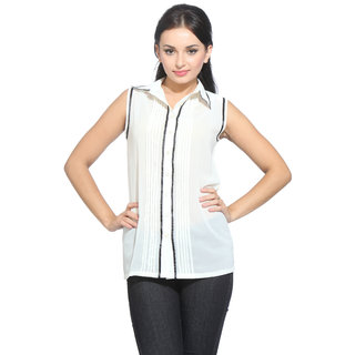 Bombay Fashion Georgette White Solid Office Wear Tunic