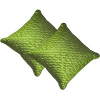 Beledecor Green Wave Cushion Cover In Dupion Silk Set Of 2