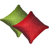 Beledecor Multi-Color Green & Maroon Wave Cushion Cover In Dupion Silk Set Of 2