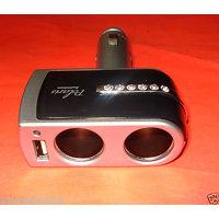 USB Port Twin Way Car Cigarette Lighter Power Socket Splitter Charger Adapter