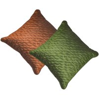 Beledecor Multi-Color Green And Brown Wave Cushion Cover In Dupion Silk Set Of 2