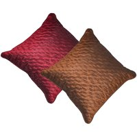 Beledecor Multi-Color Maroon & Brown Wave Cushion Cover In Dupion Silk Set Of 2