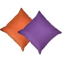 Beledecor Multi-Color Orange And Purple Cushion Cover In Jute Design Set Of 2