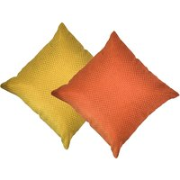 Beledecor Multi-Color Orange And Yellow Cushion Cover In Jute Design Set Of 2
