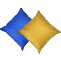 Beledecor Multi-Color Blue And Yellow Cushion Cover In Jute Design Set Of 2