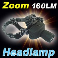 High Power Zoom Headlamp Adjustable Focus Cree LED Headlight 160LM 3Modes Caming