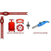 Combo Of Lpg Gas Cylinder Trolley & Electronic Gas Lighter - 6550856
