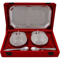Hand-e-Crafts Silver Plated 2 Brass Apple Shaped Bowls & Spoon Set With Tray