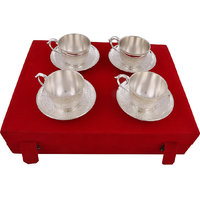 Hand-e-Crafts Silver Plated 4 Brass Tea Cups And Saucer Set
