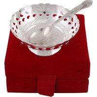 Hand-e-Crafts Silver Plated Brass Bowl With Spoon