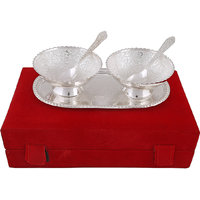 Hand-e-Crafts Silver Plated 2 Brass Bowls & Spoon Set With Tray