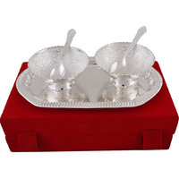 Hand-e-Crafts Silver Plated 2 Brass Bowls & Spoon Set With Tray - 6475000