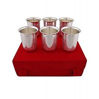 Hand-e-Crafts Silver Plated Brass Glass Set Of 6 Pcs