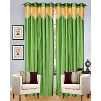 Dazzle Green   With Golden  Lace  Curtain (set Of 2 )