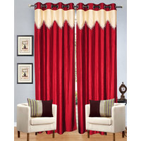 Dazzle Red & Cream With Lace  Curtain (set Of 2 )