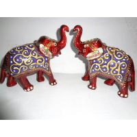 AGS 161 Teddy Bear, Gift, Room Decor, Wooden Elephant Set Of 3 - 6584152