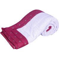 Bajya White & Red Cotton Printed Single Bed Jaipuri Quilt