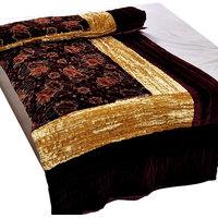 Bajya Jaipuri Maroon Jaipuri Double Bed Velvet Quilt 407 - 6598234
