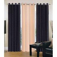 HomeSazawat Set Of 3 Beautiful Eyelet Door Curtain(4x7ft) - 6606174